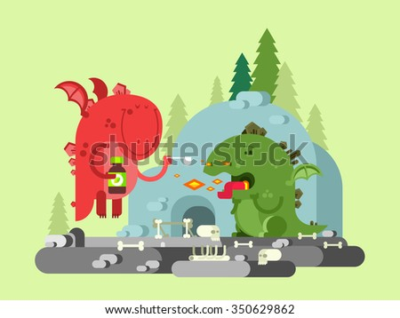 Ill dragon character. Animal funny with wing, monster comic, flat vector illustration - stock vector