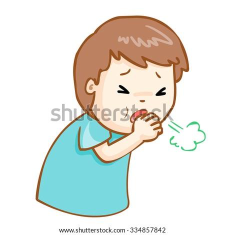 ill man coughing hard cause flu disease, vector - stock vector