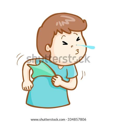 ill man sneezing because flu disease, vector - stock vector
