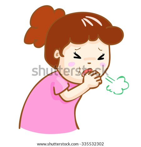 ill woman coughing hard cause flu disease vector - stock vector