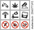 Illegal drugs vector icons set - stock