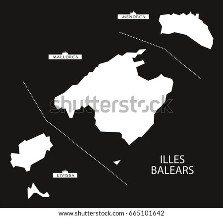 Illes Balears Spain map black inverted silhouette illustration
