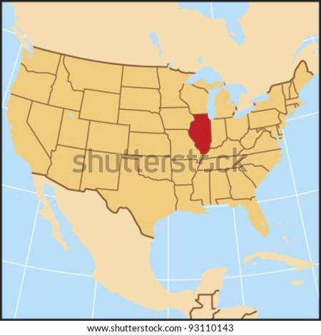 Illinois Locate Map - stock vector