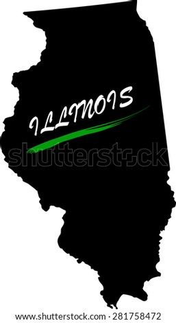 Illinois map vector in black and white background, Illinois map outlines in a new design - stock vector