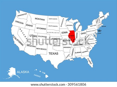 Illinois State, USA, vector map isolated on United states map. Editable blank vector map of USA.  - stock vector