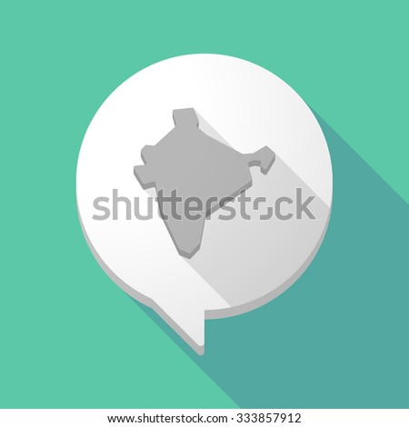 Illistration of a long shadow comic balloon with  a map of India - stock vector