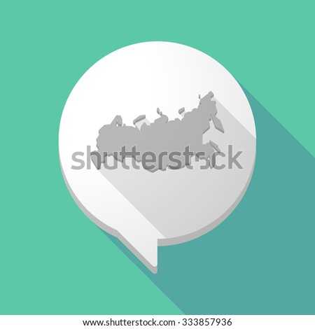 Illistration of a long shadow comic balloon with  a map of Russia - stock vector