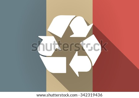 Illistration of a long shadow flag of France vector icon with a recycle sign