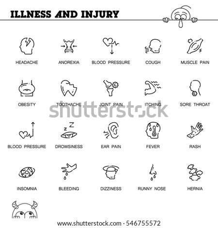 Illness Injury Flat Icon Set Collection Stock Vector 546755572