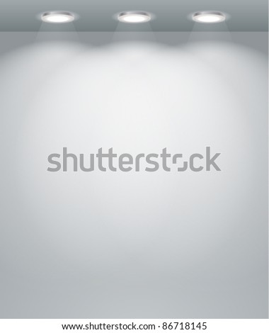 Illuminated empty wall template. Ready for your content - stock vector