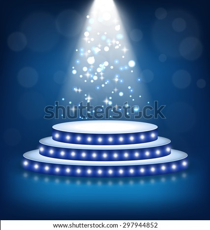 Illuminated Festive Stage Podium with Lamps on Blue Background  - stock vector