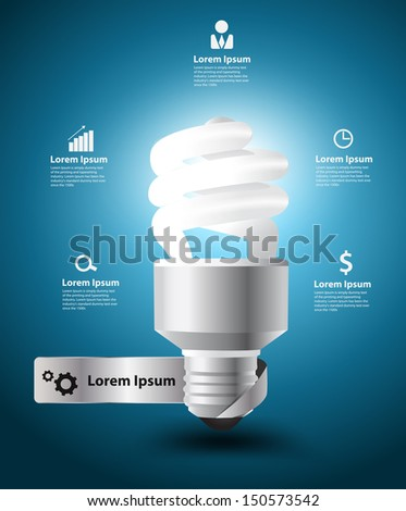 Illuminated light bulb idea concept with business icons workflow layout, diagram, step up options on blue background, Vector illustration modern template design - stock vector