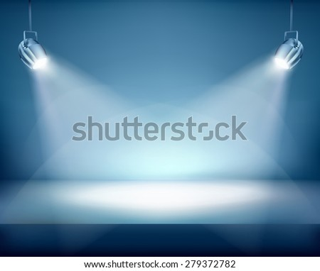 Illuminated place for exposition. Vector illustration. - stock vector