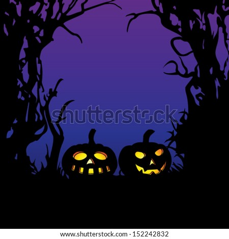 Illuminated pumpkins with space for your halloween holiday text