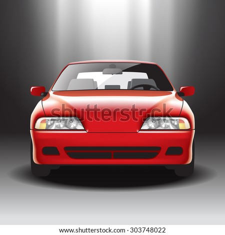 Illuminated red car on the exhibition. Vector illustration - stock vector
