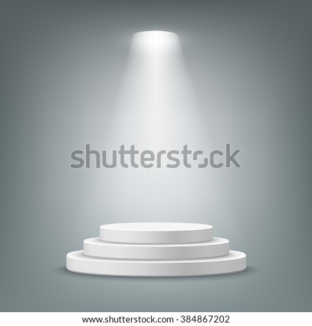 Illuminated round stage podium, pedestal. Vector illustration.
