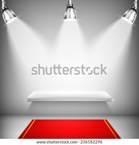 Illuminated Shelf With Red Carpet. Vector Illustration.