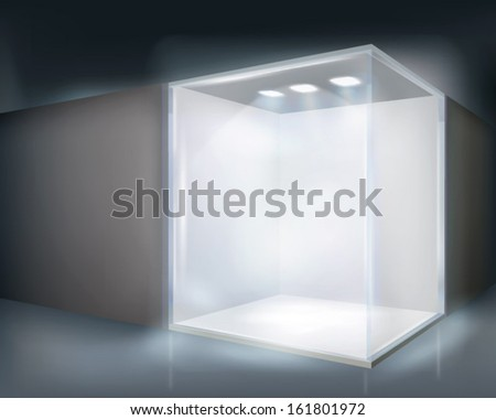 Illuminated shop window. Vector illustration. - stock vector
