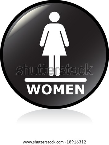 illuminated sign - BLACK version - women symbol #2 - stock vector