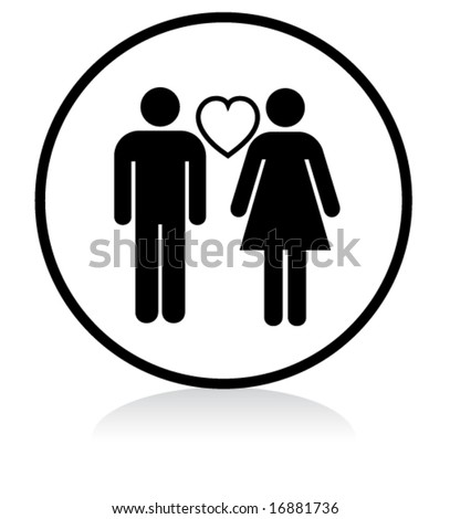 illuminated sign - WHITE version - couple in love - stock vector
