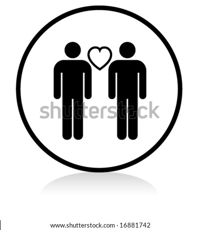 illuminated sign - WHITE version - gay men couple - stock vector