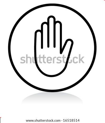 illuminated sign - WHITE version - stop symbol - stock vector