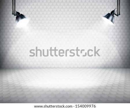 Illuminated space for exposition. Vector illustration. - stock vector