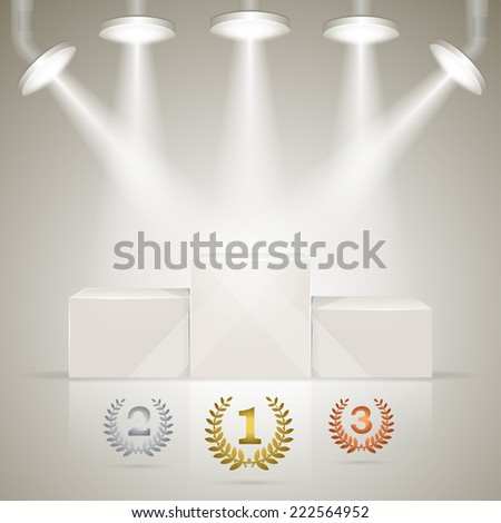 Illuminated sport winners pedestal with laurel awards for winners. - stock vector