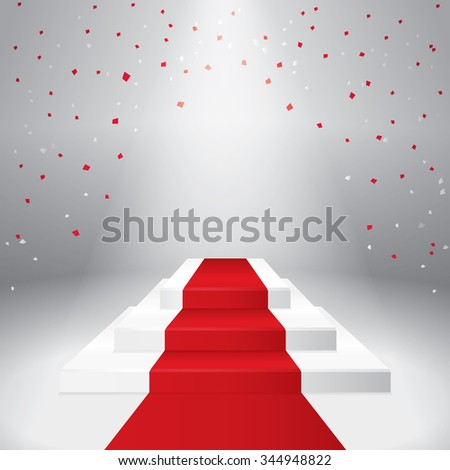 Illuminated stage podium with confetti  and red carpet. Vector illustration