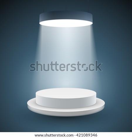 illuminated white round podium on dark background. Vector illustration. - stock vector