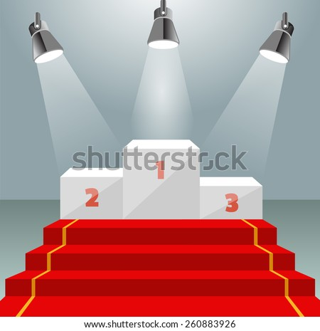 Illuminated winner pedestal with red carpet - stock vector