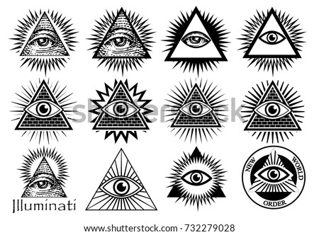 Illuminati Symbols Masonic Sign All Seeing Stock Vector 732279028