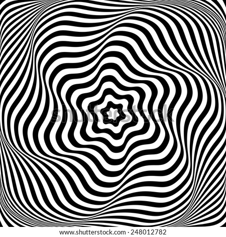 Illusion of wavy rotation movement. Abstract op art illustration. Vector art. - stock vector