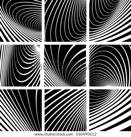 Illusion of whirl motion. Abstract backgrounds set. Vector art.  - stock vector