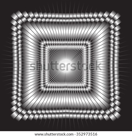 Illusion. Three-dimensional image stretching into the distance. Black-and-white mehrany gradient vector picture. - stock vector