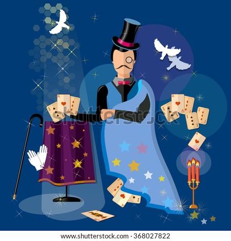 Illusionist magician shows tricks magic cards vector illustration - stock vector