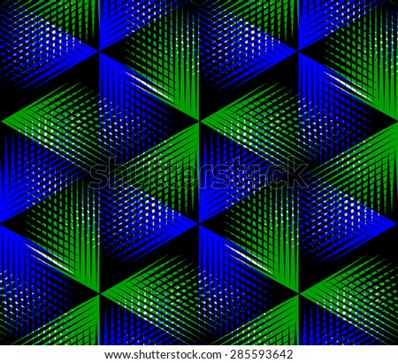 Illusive continuous colorful pattern, decorative abstract background with 3d geometric figures. Bright transparent ornamental seamless backdrop, can be used for design and textile. - stock vector