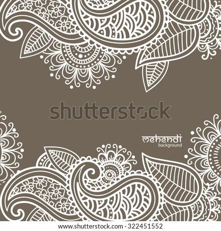Illusrtation with mehendi drawing - stock vector