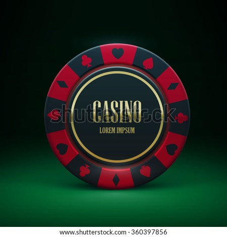 Illustartion of casino chip with place for text realistic theme - stock vector