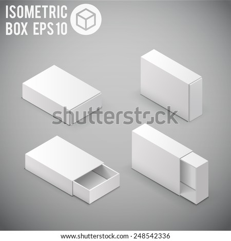 Illustartion of Opened White Cardboard Package Box. - stock vector