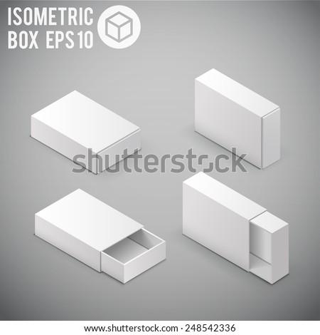 Illustartion of Opened White Cardboard Package Box. - stock vector