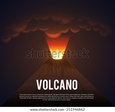 Illustartion of Volcano erupting - stock vector