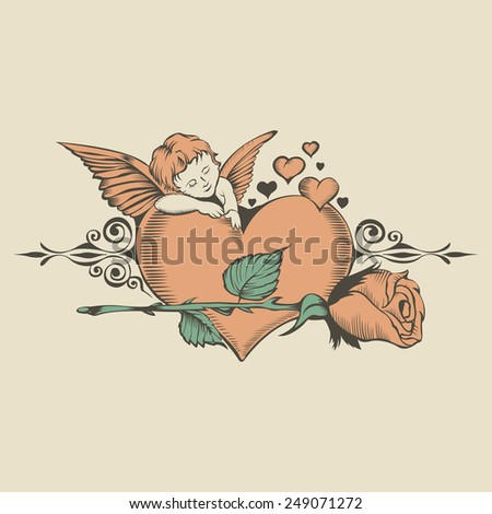 Illustation of Valentine's Day card with Cupid and Heart - stock vector