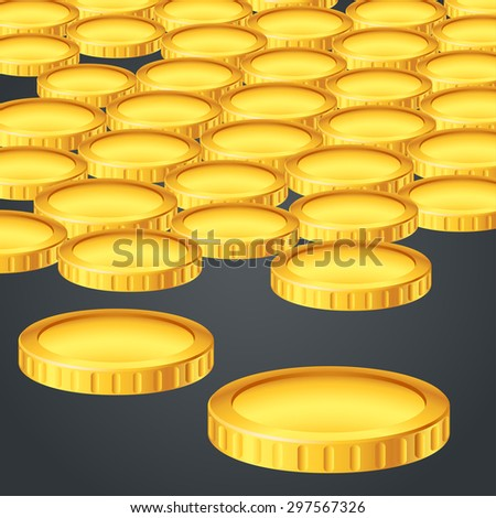 illusteation of a lot of gold coins on dark background - stock vector