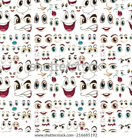 Illustraion of a seamless facial expressions - stock vector