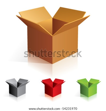 Illustraion of open color cardboard boxes.
