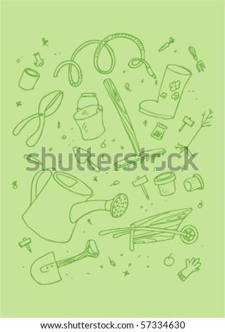 illustraition of cartoon garden tool, hand drawn design set. - stock vector