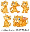 Illustraiton of comical cat series - stock vector