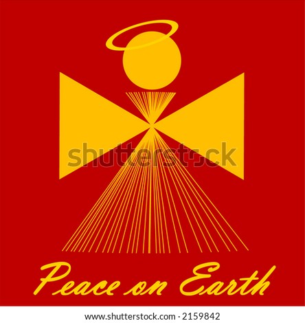 "illustrated angel with text ""peace on earth "" below - stock vector"