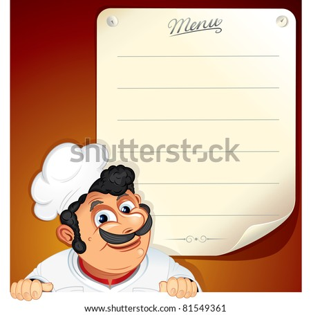 Illustrated Background with Smiling Chef and Blank Menu - stock vector